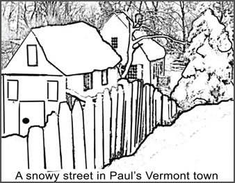 snowy houses in Vermont